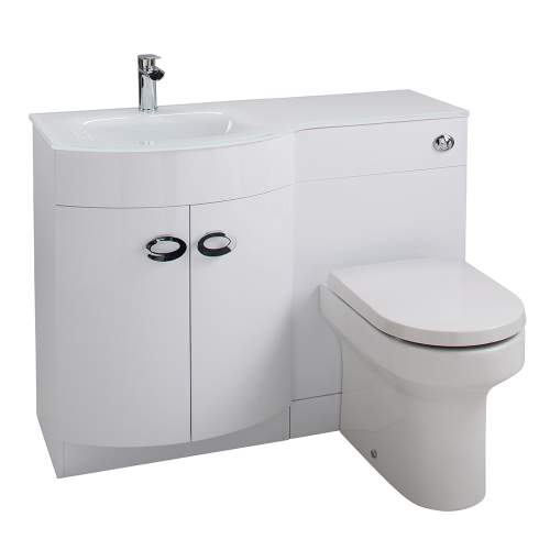 Aquabro D Shaped Basin & WC Set with White Glass Sink