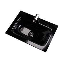 Aquabro Idon 600 Black Glass Bathroom Basin