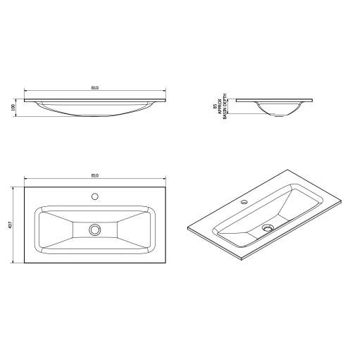 Aquabro Idon 800mm Black Glass Bathroom Basin