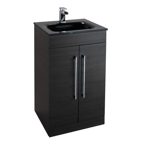 Aquabro Idon 500mm Black Glass Bathroom Basin