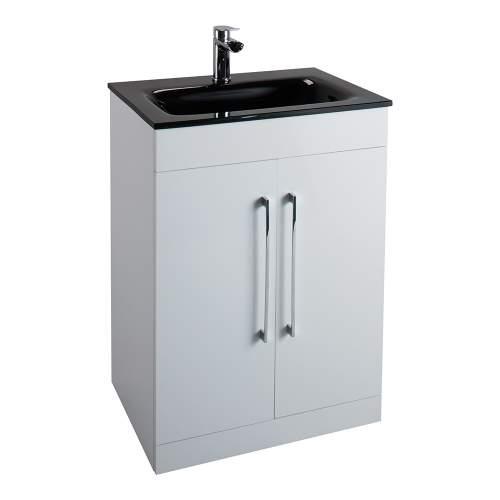 Aquabro Idon 600 Black Glass Bathroom Basin