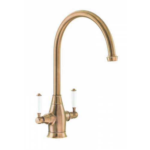 Abode ASTBURY Dual Lever Kitchen Mixer Tap in Forged Brass - AT3068