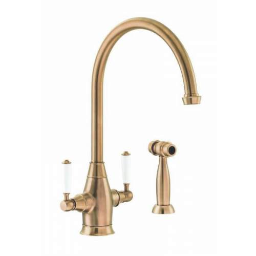 Abode ASTBURY Dual Lever Mixer With Handspray in Forged Brass - AT3069