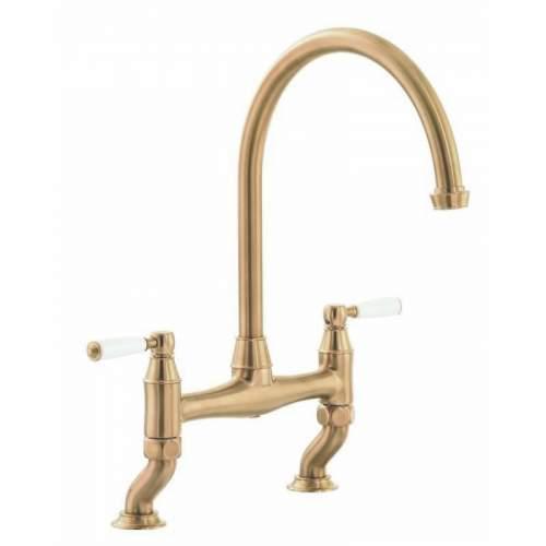 Abode ATSTBURY twin lever kitchen bridge tap in Forged Brass - AT3072