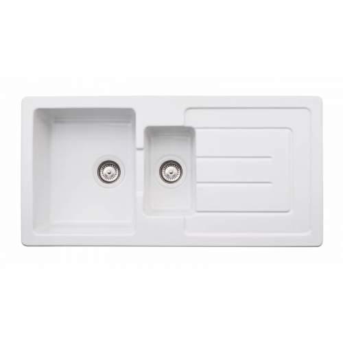 Abode Acton 1.5 Bowl Reversible Ceramic Kitchen Sink