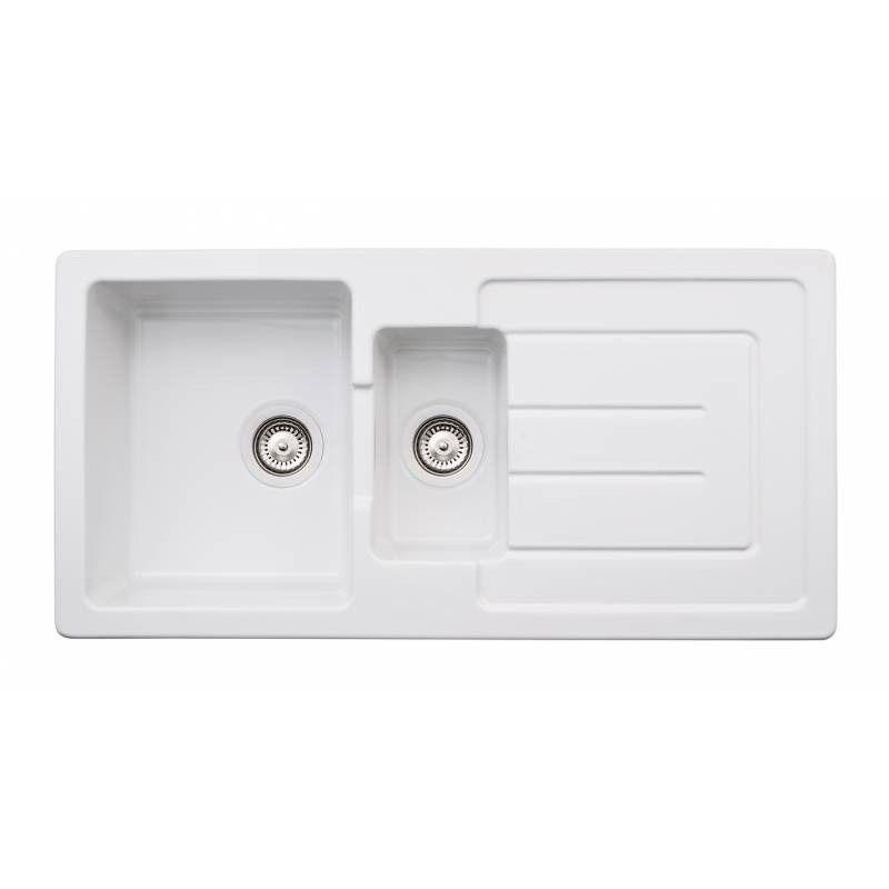 Abode Acton 1.5 Bowl Reversible Ceramic Kitchen Sink - Sinks-Taps.com