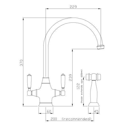 Abode ASTBURY Twin Lever Mixer Kitchen Tap With Handspray in Forged Brass