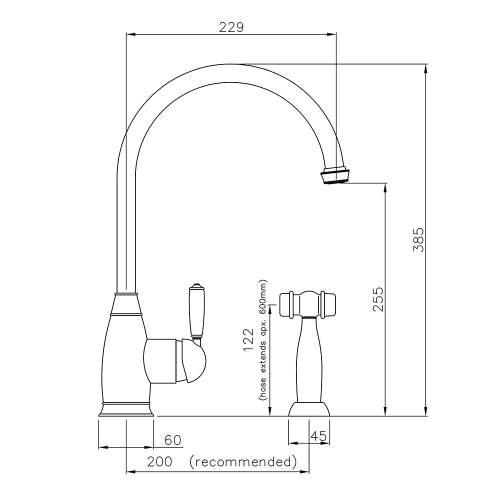 Abode ASTBURY Single Lever Mixer Kitchen Tap With Handspray in Forged Brass