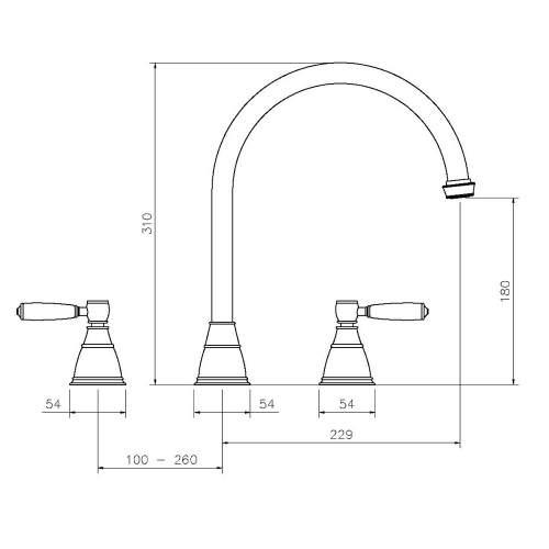 Abode ASTBURY 3 Part Mixer Kitchen Tap in Forged Brass