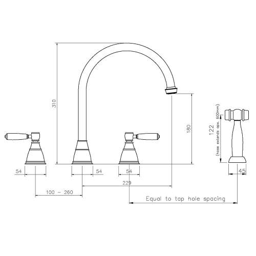 Abode ASTBURY 3 Part Mixer Kitchen Tap with Handspray in Forged Brass