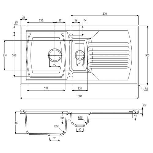 Abode Milford 1.5 Bowl Reversible Ceramic Kitchen Sink - AW1043