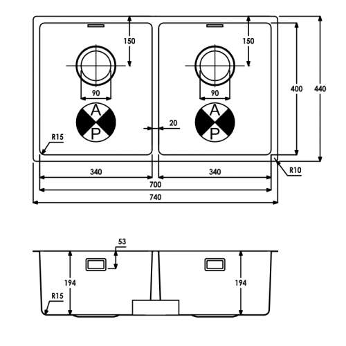 Abode Matrix R15 Double Bowl Kitchen Sink - AW5123