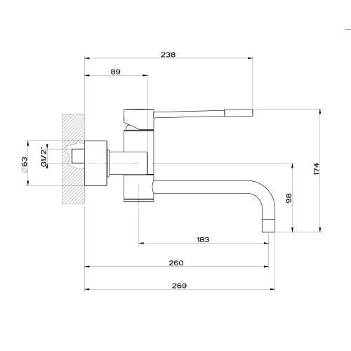 Gessi Oxygen Wall Mounted Swivel Spout Tap - 13175