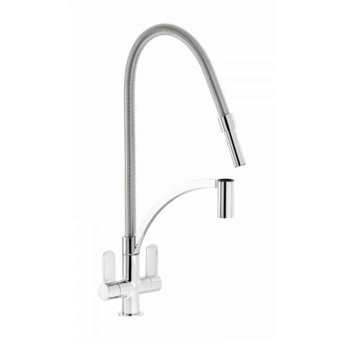 Abode GENIO Dual Lever Kitchen Mixer Tap with Pull Out Spray - AT2071