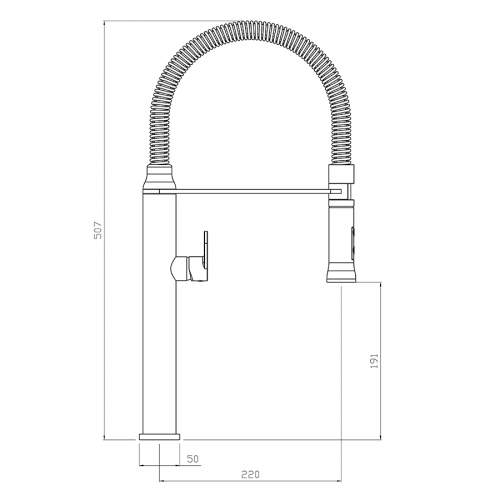 Abode TITANE Professional Style Kitchen Tap with Pull Out Hose - AT2084