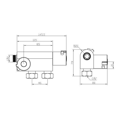Aquabro Vertical Thermostatic Bar Shower Valve