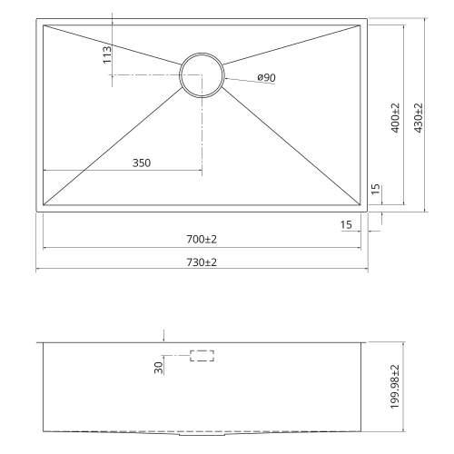 Bluci KUBE 70 Single Large Bowl Kitchen Sink Dimensions
