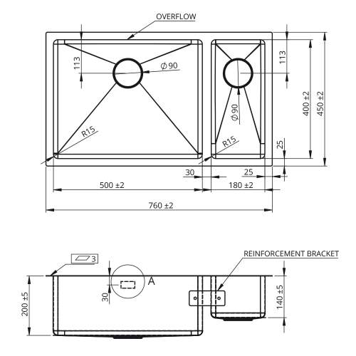 Bluci ACUTE 5018 1.5 Bowl Kitchen Sink