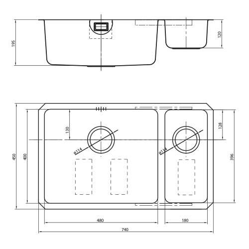 Bluci ORBIT 4818 Undermount 1.5 Bowl Kitchen Sink Dimensions