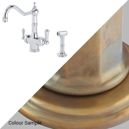 Perrin & Rowe 1770 Celeste 3-in-1 Instant Hot Tap with Rinse in Aged Brass