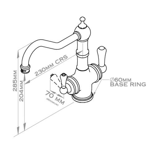 Perrin & Rowe 1770 Celeste 3-in-1 Instant Hot Tap with Rinse