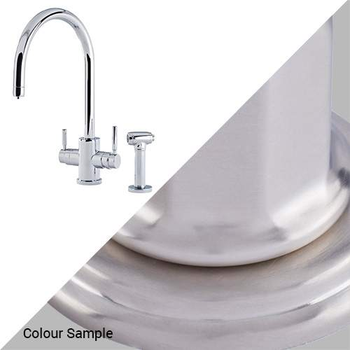 Perrin & Rowe 1712 Phoenix C-Spout 3-In-1 Instant Hot Tap with Rinse in Pewter