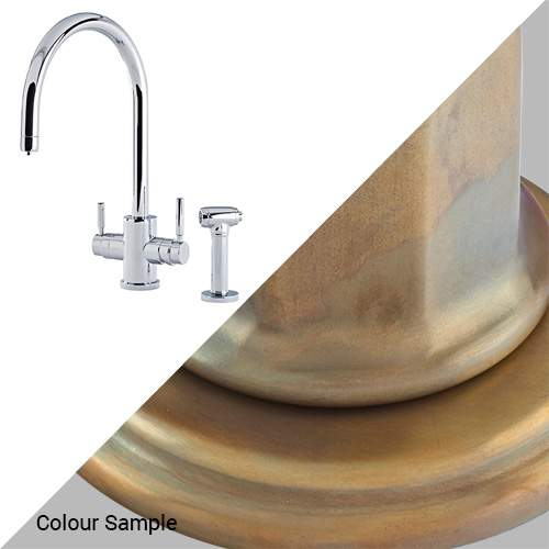 Perrin & Rowe 1712 Phoenix C-Spout 3-In-1 Instant Hot Tap with Rinse in Aged Brass