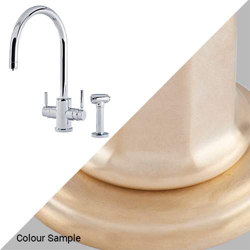 Perrin & Rowe 1712 Phoenix C-Spout 3-In-1 Instant Hot Tap with Rinse in Satin Brass