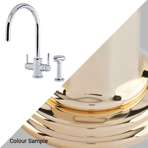 Perrin & Rowe 1712 Phoenix C-Spout 3-In-1 Instant Hot Tap with Rinse in Polished Brass