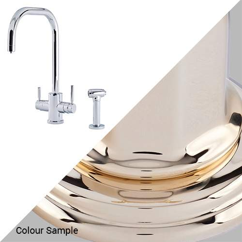 Perrin & Rowe 1714 Phoenix U-Spout 3-In-1 Instant Hot Tap with Rinse in Gold