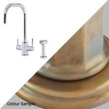 Perrin & Rowe 1714 Phoenix U-Spout 3-In-1 Instant Hot Tap with Rinse in Aged Brass