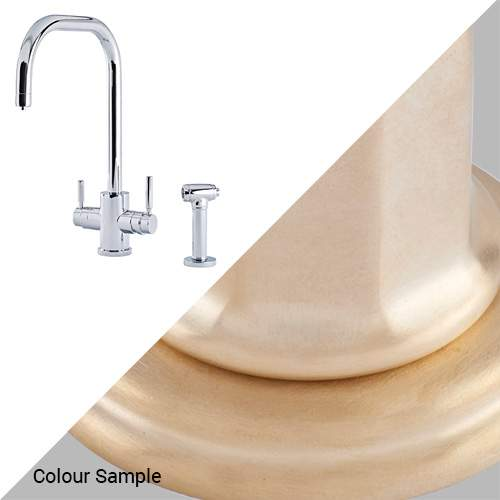 Perrin & Rowe 1714 Phoenix U-Spout 3-In-1 Instant Hot Tap with Rinse in Satin Brass