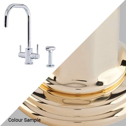 Perrin & Rowe 1714 Phoenix U-Spout 3-In-1 Instant Hot Tap with Rinse in Polished Brass