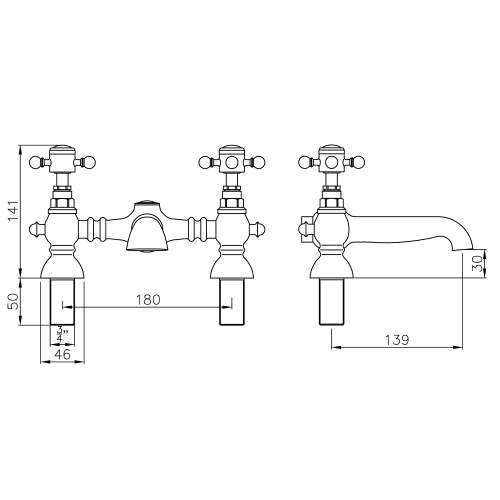 Abode AB2683 Sentiment Deck Mounted Bath Filler in Chrome