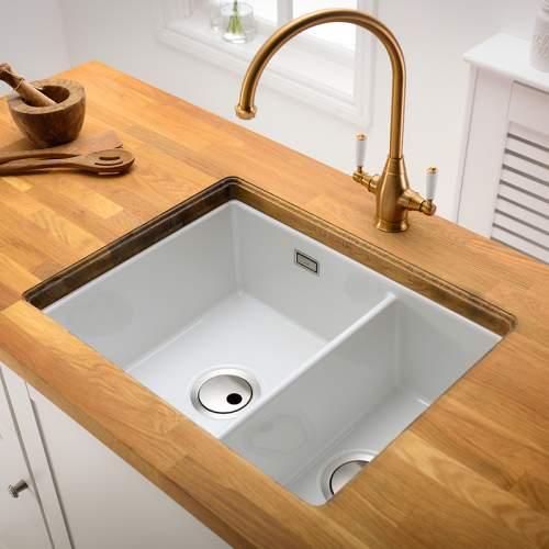 Abode SANDON Large 1.5 Bowl Ceramic Kitchen Sink - AW1033