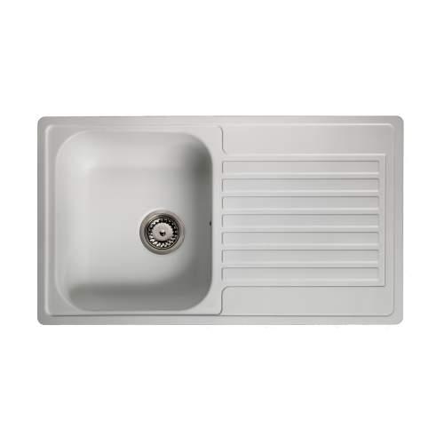 Reginox Regi-Color CENTURIO Single Bowl Kitchen Sink in Arctic White