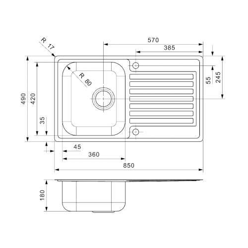 Reginox Regi-Color CENTURIO Single Bowl Kitchen Sink Dimensions