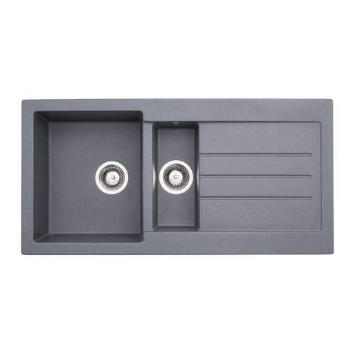Abode AW3119 XCITE 1.5 Bowl Granite Kitchen Sink in Grey