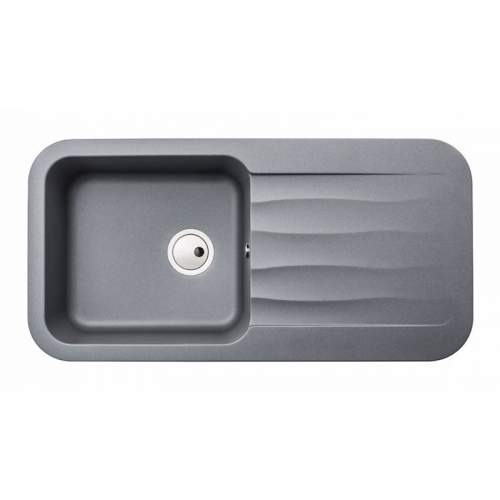 Abode AW3144 DUNE 1.0 Bowl Granite Kitchen Sink in Metallic Grey