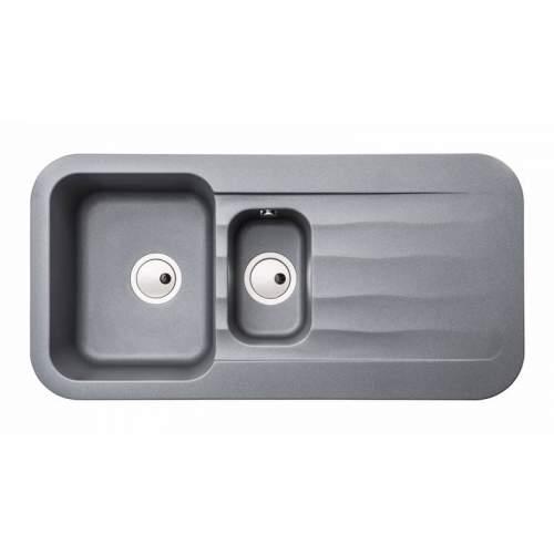 Abode AW3145 DUNE 1.5 Bowl Granite Kitchen Sink in Metallic Grey