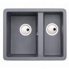 Abode AW3135 MATRIX SQGR15 1.5 Bowl Granite Sink in Metallic Grey