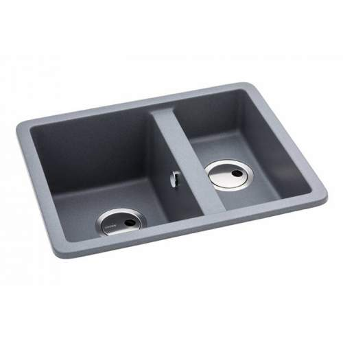 Abode AW3135 MATRIX SQGR15 1.5 Bowl Granite Sink in Metallic Grey