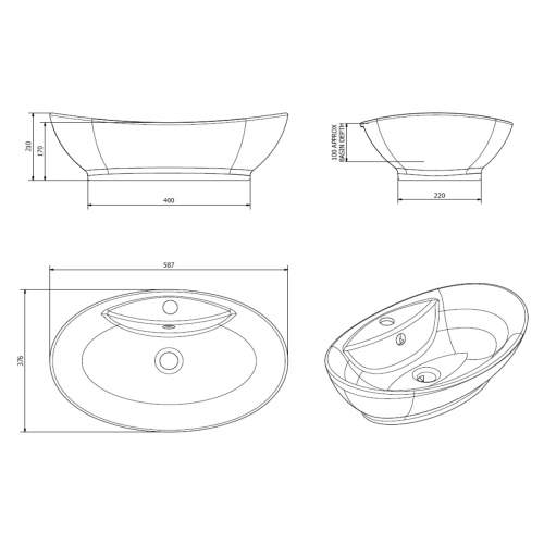 Aquabro Oval Counter Top Basin with Tap Hole