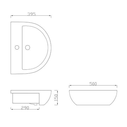 500mm Semi Recessed Vessel Basin with Tap Hole
