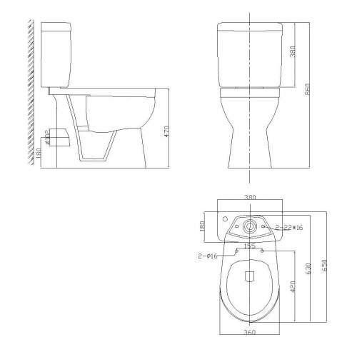 Aquabro Listra Comfort Height Toilet and Cistern
