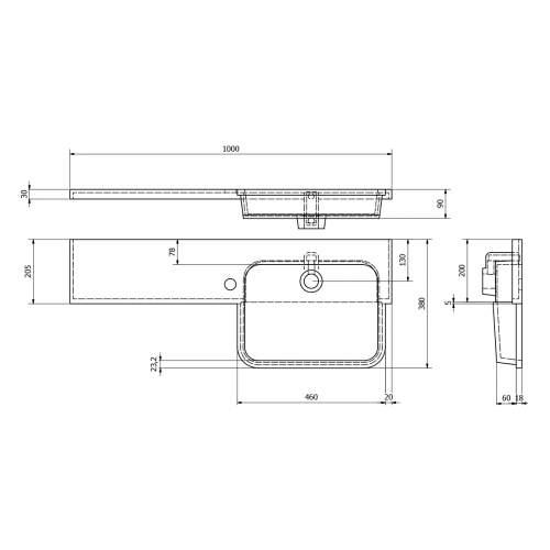 Ria Semi Recessed Combination Basin & WC Unit
