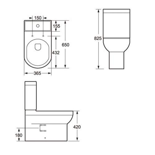 Montego Fully Back to Wall Close Coupled Toilet and Cistern