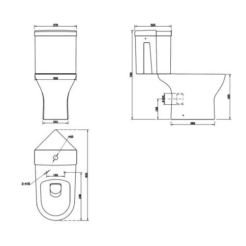 Spek Corner Close Coupled Pan & Cistern with Seat