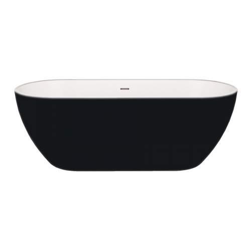 Aquabro Balham Black Modern Freestanding Double Ended Bath