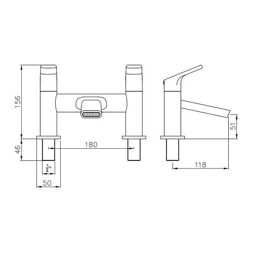 Abode SQUIRE AB2651 Deck Mounted Bath Filler Dimensions